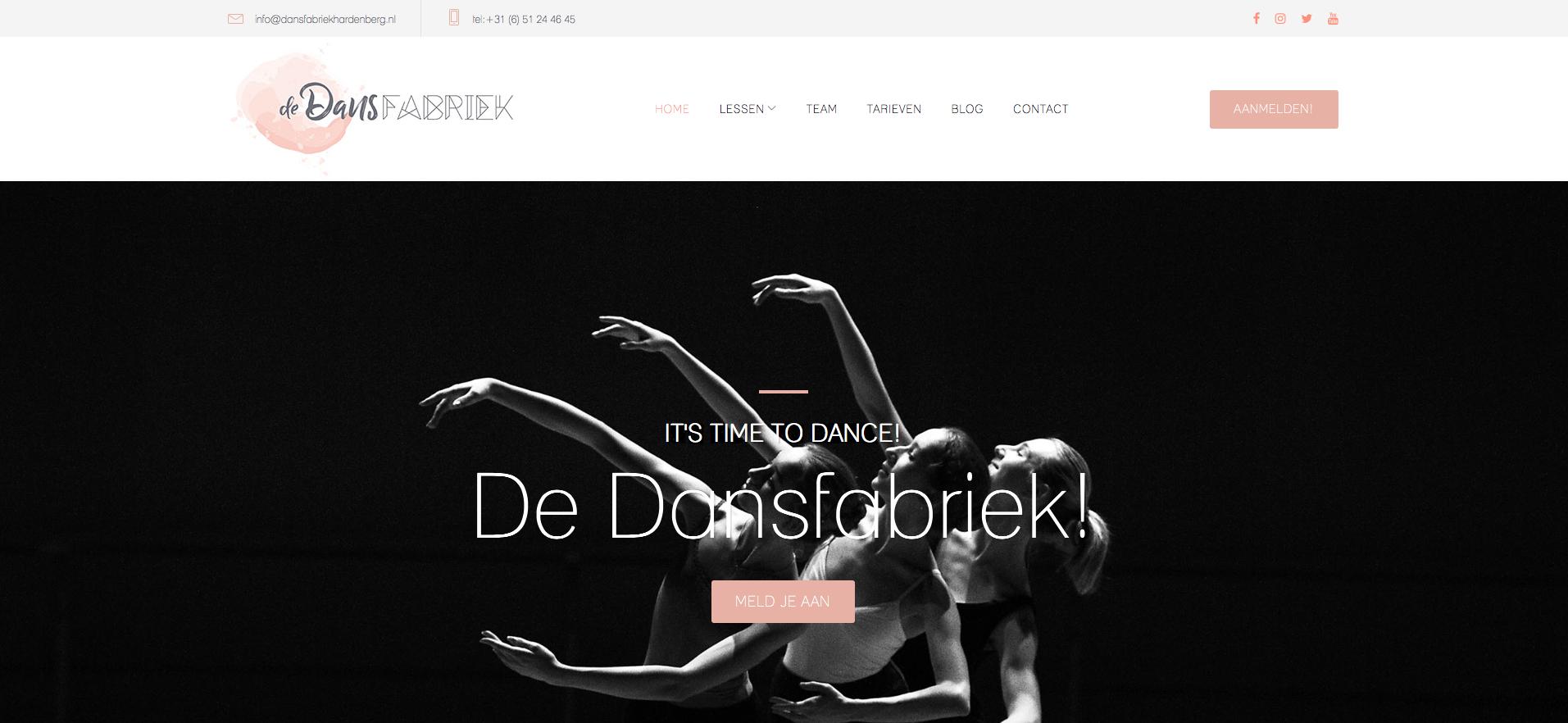 Nieuwe website De Dansfabriek Hardenberg